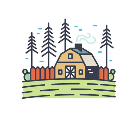Colorful picturesque countryside landscape. Linear cottage with smoking chimney in the field surrounded by pine trees. Rural outline scenery isolated on white background. Vector illustration. Ilustração