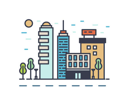 Modern cityscape with various buildings. Linear colorful urban landscape isolated on white background. Town street with skyscrapers, office and residential houses. Vector outline illustration.