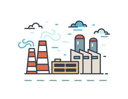 Outline industrial landscape isolated on white background. Urban scene with factories and plants. Colorful linear sign with manufactory buildings with chimney. Simple vector contour illustration