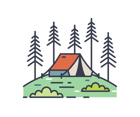 Camping tent in pine woods outline illustration. Colorful contour campsite logo isolated on white background. Linear vacation scenery with bivvy in the forest. Simple vector outline sign