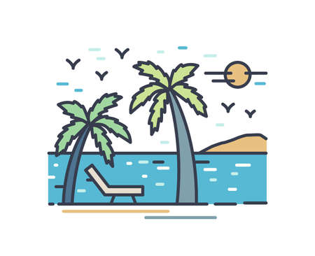 Outline colorful vacation scenery. Line art beach landscape with deckchair and palm trees. Picturesque seascape with mountain silhouette on horizon isolated on white background. Vector illustration. Ilustração