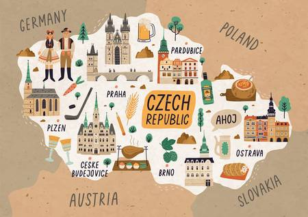 Czech Republic cultural map hand drawn illustration. European country traditional symbols. People in authentic clothing, national dishes and sightseeing spots. Famous landmarks and food drawing. Ilustração