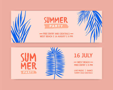 Summer party flat banner vector templates. Seasonal entertainment event invitation layouts. Music festival, tropical recreation advertising. Palm tree branches hand drawn illustrations with typography.