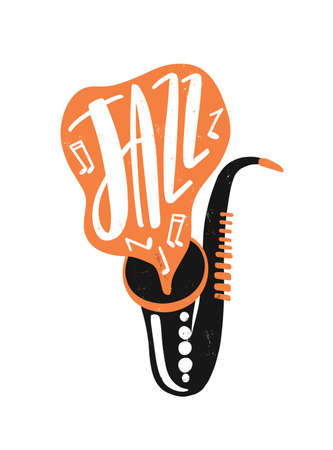 Jazz hand drawn vector lettering. Saxophone with musical notes illustration. Wind instrument drawing with typography. Music concert, saxophonist performance creative invitation design element.
