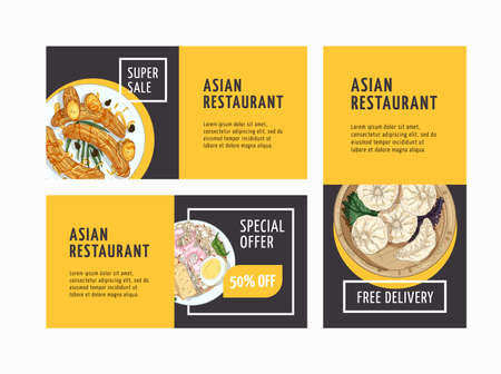 Asian restaurant advertising flyers templates set. Oriental cuisine cafe promo leaflets design layouts. Hand drawn exotic dishes. Special offer banner with realistic illustrations and place for text.