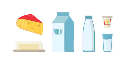 Dairy products flat vector illustrations set. Milk in bottle, package and glass isolated cliparts pack on white background. Piece of Swiss cheese with holes, butter in plate design elements collection.