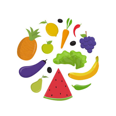 Fruit and vegetables flat vector illustrations set. Raw whole banana and apple, watermelon slice. Ripe eggplant, carrot isolated cliparts pack on white background. Organic veggies in round shape. Stock Illustratie