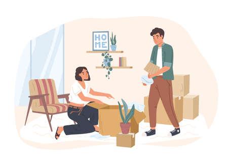 Giovane coppia che si trasferisce in una nuova casa o appartamento. Uomo e donna che imballano le loro cose in scatole di cartone. Famiglia che si prepara per il trasferimento in un'altra abitazione. Illustrazione vettoriale in stile cartone animato piatto. Vettoriali
