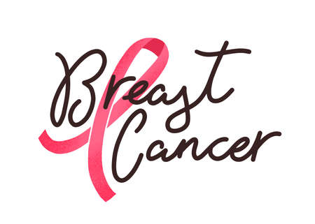 Breast cancer handwritten lettering. Women oncological disease awareness campaign slogan. Decorative typography and pink ribbon. Inspirational, motivational phrase on white background. Standard-Bild - 131216885