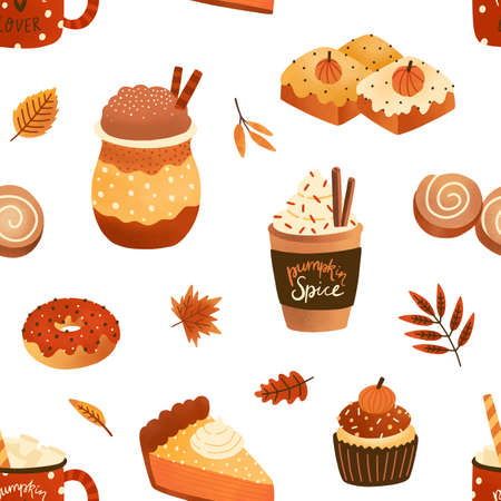 Autumn seasonal pastry and drink flat vector seamless pattern. Pumpkin spice latte and cupcakes texture. Cappuccino, doughnuts and leaves backdrop. Wrapping paper, wallpaper, textile design.