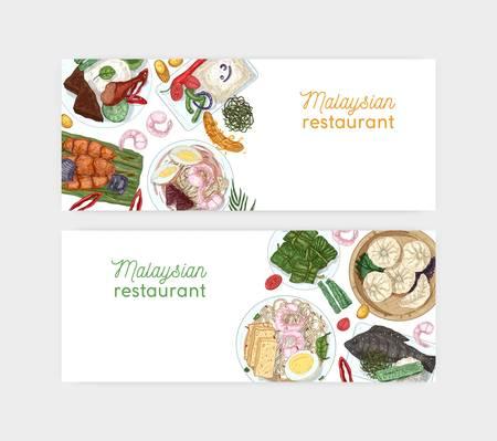 Modello di vettore banner disegnato a mano ristorante malese. Piatti della tradizione orientale e illustrazioni realistiche di antipasti. Sfondo culinario asiatico con posto per il testo. Layout pubblicitario del caffè. Vettoriali