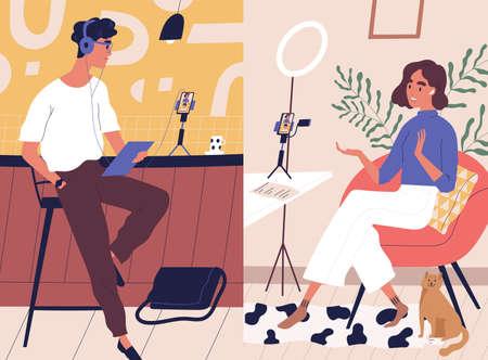 Transmisja na żywo, transmisja ilustracji wektorowych płaski. Współpraca blogerów w sieciach społecznościowych mężczyzn i kobiet. Postaci z kreskówek vlogerów. Wywiad, podcast, nagranie wideo w studio.