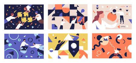 Conjunto de ilustraciones vectoriales planas de trabajo en equipo. Comunicación de personajes de compañeros de trabajo. Conceptos de asociación empresarial y formación de equipos. Hombres de negocios y cooperación de formas geométricas, colaboración.