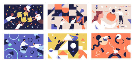 Set di illustrazioni vettoriali piatte per il lavoro di squadra. Comunicazione dei personaggi dei colleghi. Concetti di team building e partnership commerciali. Uomini d'affari e cooperazione di forme geometriche, collaborazione.