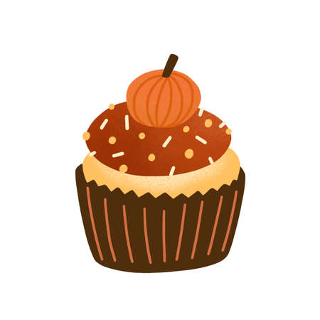 Cupcake flat vector illustration. Tasty muffin decorated with chocolate icing and pumpkin candy isolated on white. Delicious pastry, traditional autumn biscuit. Baked dessert, cake design element.  イラスト・ベクター素材