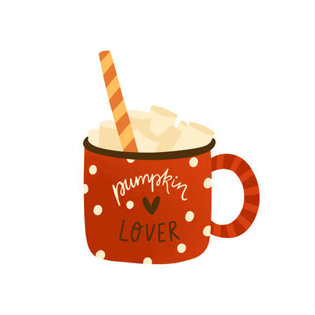 Pumpkin spice homemade latte flat vector illustration. Tasty cappuccino with marshmallow and candy cane isolated on white. Fall season hot sweet beverage in red cup. mocha drink in mug.