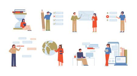 Set di illustrazioni vettoriali piatte per l'istruzione online. E learning, corsi universitari a distanza. Prove di preparazione all'esame isolate su bianco. Personaggi dei cartoni animati di insegnanti e studenti. Lezioni digitali. Vettoriali