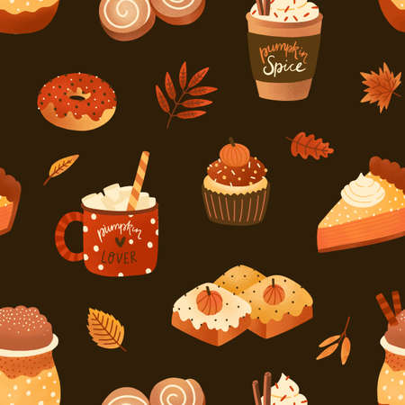 Autumn desserts flat seamless pattern. Pumpkin spice latte, biscuits and cupcakes vector texture. Cappuccino, buns and leaves backdrop. Fall season food wrapping paper, wallpaper, textile design.