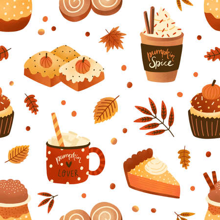 Autumn pastry and drinks flat seamless pattern. Pumpkin spice latte and cupcakes vector texture. Cappuccino, cinnamon buns and leaves backdrop. Wrapping paper, wallpaper, textile design.