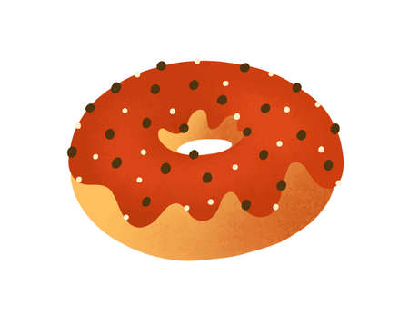 Doughnut flat vector illustration. Tasty donut decorated with chocolate icing isolated on white. Delicious pastry, traditional american snack. Baked dessert, yummy junk food design element. 写真素材 - 131706860
