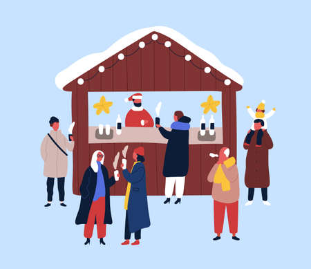 Hot drinks kiosk flat vector illustration. Seller and customers cartoon characters. Christmas street fair design element. Xmas atmosphere, winter season holiday. People buying hot chocolate, coffee Illustration