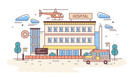 Facade of hospital, clinic, infirmary or medical center building with helicopter landing on top of it and ambulance. Healthcare institution. Colorful vector illustration in modern linear style. Illusztráció