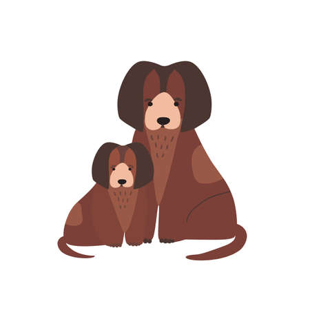 Dog with pup or whelp isolated on white background. Family of funny domestic carnivorous animals or pets. Cute parent with child, mother and baby or puppy. Flat cartoon childish vector illustration.