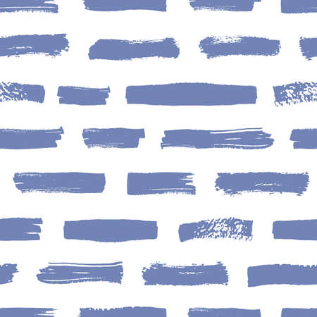 Artistic seamless pattern with blue brush strokes on white background. Abstract backdrop with horizontal paint traces or smears. Vector illustration in grunge style for wrapping paper, fabric print.