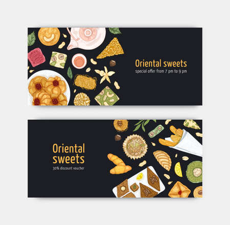 Bundle of coupon or voucher templates with sweet oriental desserts on plates. Traditional tasty confections, delicious pastry. Elegant realistic vector illustration for confectionery advertisement.