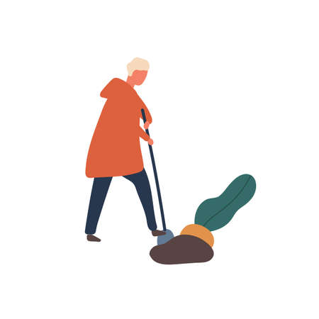 Man digging out big beet flat vector illustration. Young farmer with shovel cartoon character. Harvest season, husbandry, agronomy, rural economy design element. Seasonal farming chores