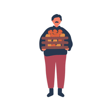 Farmer holding apples crate flat vector illustration. Old rancher, farm worker cartoon character. Natural food, organic ripe fruits harvest. Gardening, rural economy, agriculture design element.