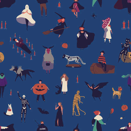 Halloween characters flat vector seamless pattern. Traditional autumn holiday decorative texture. People in spooky costumes cartoon illustration. Festive wrapping paper, wallpaper, textile design. Ilustração