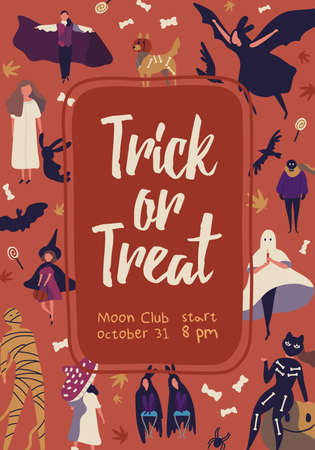 Trick or treat flat poster vector template. Halloween celebration banner, placard concept. Moon club invitation card layout. People in various creepy costumes illustration with typography 向量圖像