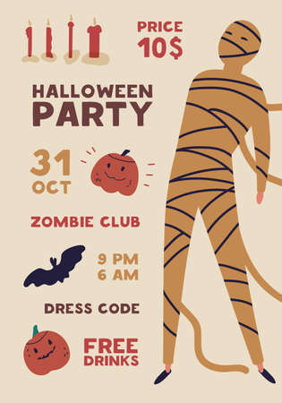 Halloween party flat poster vector template. Holiday entertainment event, masquerade invitation. Club advertising brochure, flyer, banner layout. Creepy mummy, monster illustration with typography