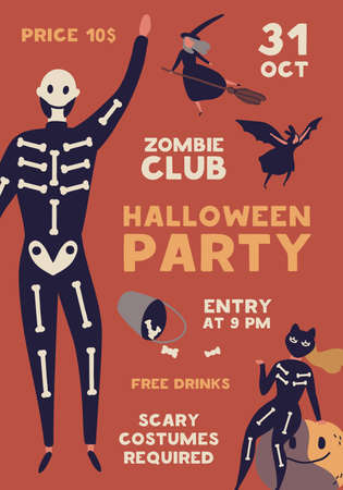 Halloween celebration party flat poster vector template. Seasonal masquerade brochure, flyer concept. Zombie club invitation card layout. People in creepy costumes illustration with typography. Ilustração