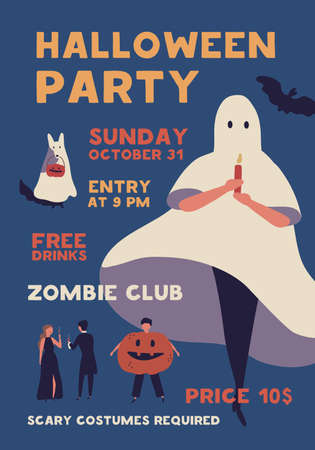 Halloween costume party flat poster vector template. Autumn holiday celebration event invitation. Zombie club advertising brochure, banner layout. People in spooky outfits illustration with typography.