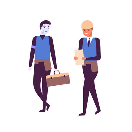 Man and cyborg working together flat vector illustration. Happy humanoid robot and engineer in uniform cartoon characters. Future technology, job automation concept. Smiling builder and smart machine.
