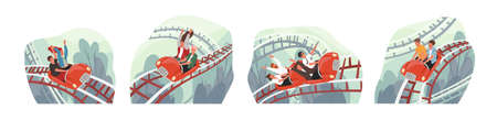 People ride roller coaster flat vector illustrations set. Friends and colleagues cartoon characters. Amusement park visitors having fun. Emotional, thrilling experience, active recreation concept. Иллюстрация