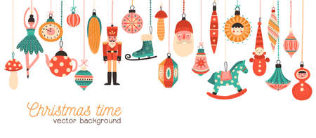 Christmas time flat banner vector template. Xmas tree decorations illustration with typography. Decorative toys hanging on strings. Traditional new year celebration accessories on white background Vectores