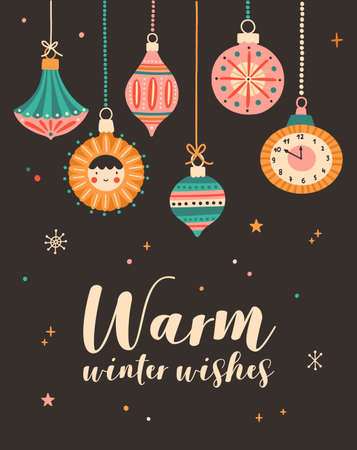 Warm winter wishes greeting cards vector template. Xmas postcard, new year poster design with holiday congratulations. Various christmas tree decorations flat illustration with typography.