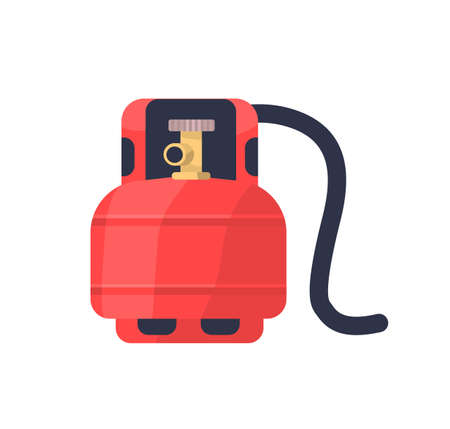 Flammable gas red tank flat vector illustration. Lng cylinder for stove. Compressed gas storage, industrial metal balloon with valve. Butane, propane canister isolated on white background.