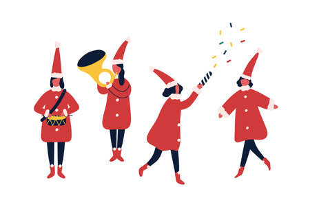 Christmas fair performers flat vector illustrations set. Winter holiday party, carnival participants in festive elf costumes. Orchestra musicians. People celebrate New Year cartoon characters.