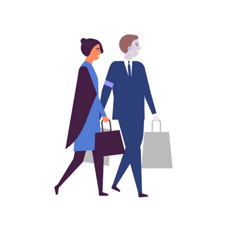 Woman and robotized assistant with shopping bags flat vector illustration. Robots in daily human life. AI helper, humanoid in suit. Cyborg helping businesswoman cartoon characters isolated on white.