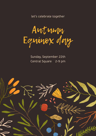 Autumn flat colorful vector background. Fall themed poster template. Seasonal event invitation, advertising flyer layout. Forest dried foliage and berries decorative backdrop with place for text Ilustração