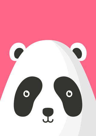Adorable panda bear snout flat vector illustration. Cute wildlife jungle animal muzzle cartoon colorful background. Close up panda head, face decorative backdrop. Childish zoo card design idea