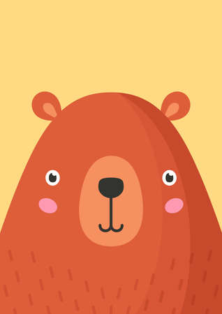 Cute bear snout flat vector illustration. Adorable wildlife forest animal muzzle cartoon colorful background. Close up wild grizzly bear head, face decorative backdrop. Childish zoo card design idea.