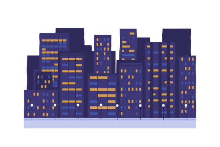 Night city buildings vector illustration. Town street lighting. Multi-storey houses with shining windows isolated on white background. Evening, nighttime. Business centre, apartment house exterior.