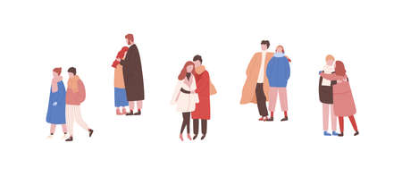 Hugging couples in warm clothes flat vector illustrations set. Winter season outdoor date. Boys and girls lovers faceless characters. Meeting, embrace, rendezvous. Walking pairs in love collection. Illustration