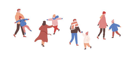 Walking families in warm clothes flat vector illustrations set. Playing children and parents faceless characters. Winter season outside activity. Family entertainment. Outdoor rest, stroll with child.