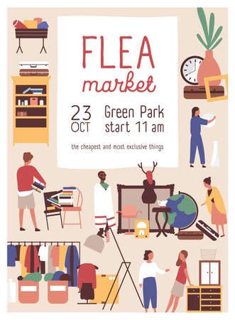 Designer market flat poster vector template. Retail store sale invitation. Rag fair, flea market advertising brochure, banner layout. Customers buying exclusive stuff illustration with typography. Vettoriali